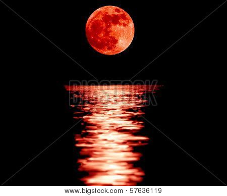 Full Red Moon With Reflection