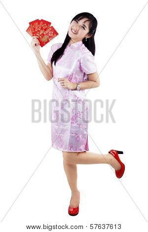 Asian Girl With Red Pocket Gift