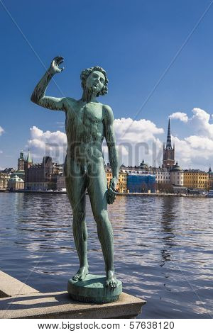 Statue Of A Man At The Town Hall In Stockholm