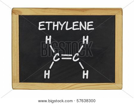chemical formula of ethylene on a blackboard