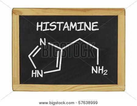 chemical formula of histamine on a blackboard