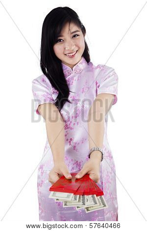 Happy Woman Giving Red Envelopes