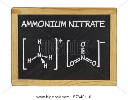 chemical formula of ammonium nitrate on a blackboard