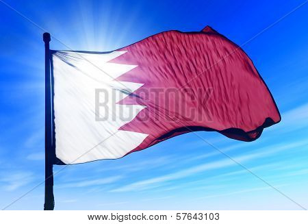 Bahrain flag waving on the wind
