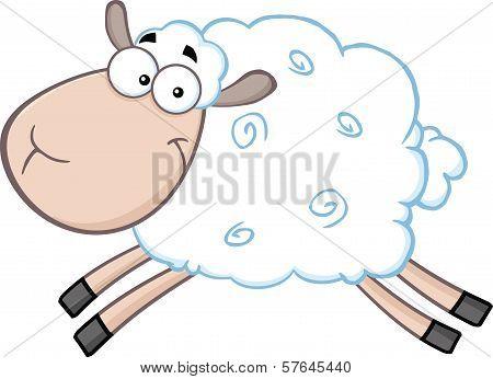 White Sheep Cartoon Mascot Character Jumping