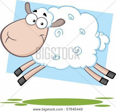 Funny Sheep Cartoon Mascot Character Jumping
