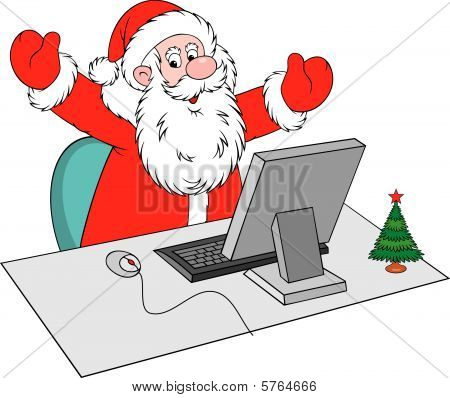 Santa Claus with computer