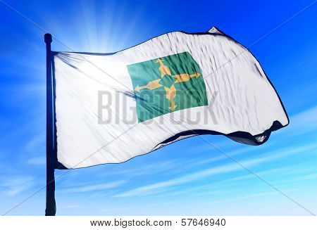 Distrito Federal (Brazil) flag waving on the wind