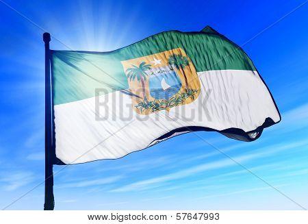 Rio Grande do Norte (Brazil) flag waving on the wind