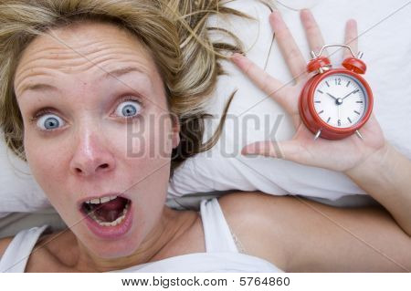 Woman Waking Up Late