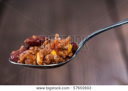 Chili Con Carne On A Spoon