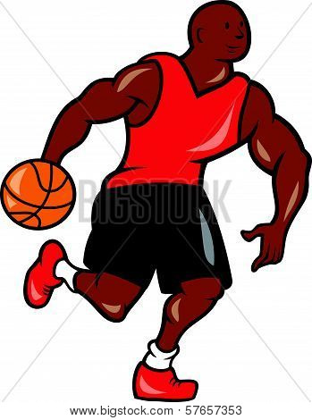 Basketball Player Dribbling Ball Cartoon
