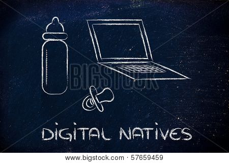 Digital Natives: Funny Design With Laptop, Feeding Bottle And Pacifier For Newborn Baby