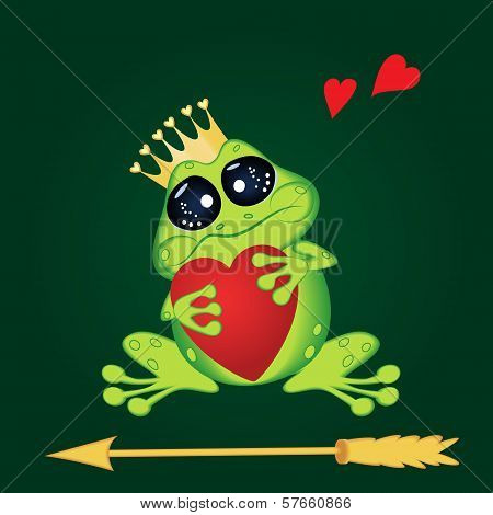 Frog with heart and arrow on green background.