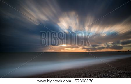Beautiful Sunset Long Exposure Image Over Ocean