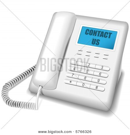 Modern white telephone.
