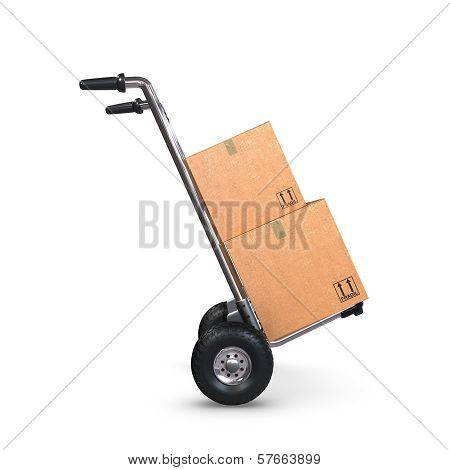 Hand Truck Tilted With Two Boxes Profile