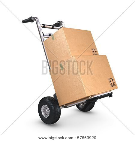 Hand Truck Tilted With Two Boxes