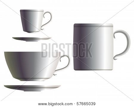 Set Of White Porcelain Tee Cup, Coffea Cup With Saucer And Tea Mug. Eps10