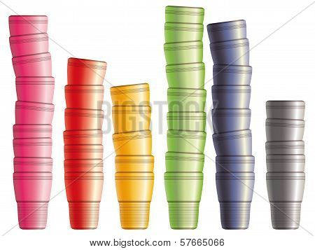 Set Of Disposable Plastic Cups Inserted One Into Another. Eps10