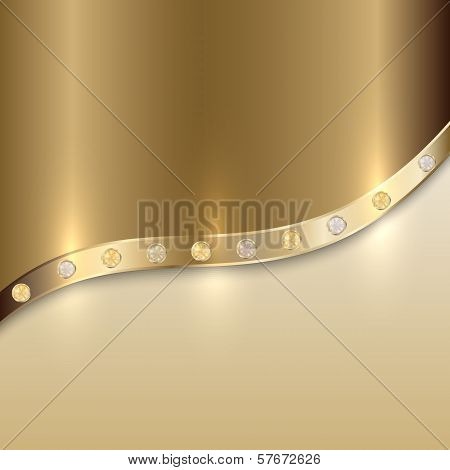Vector golden texture background with curve and precious gems