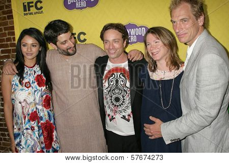 L-R Pooja Kumar, Ted Skillman, Chris Kattan, Belisa Balaban, Julian Sands at the Los Angeles Premiere of 'Bollywood Hero'. Cinespace, Hollywood, CA. 07-27-09