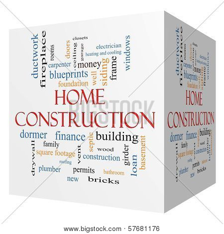 Home Construction 3D Cube Word Cloud Concept