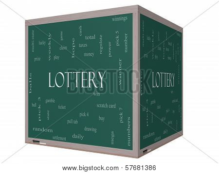 Lottery Word Cloud Concept On A 3D Cube Blackboard