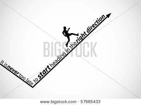 A Passionate Man Running Up An Arrow In The Right Direction - inspirational quote concept design art