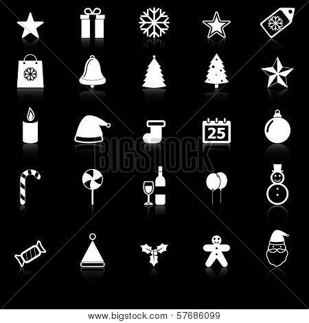 Christmas Icons With Reflect On Black Background
