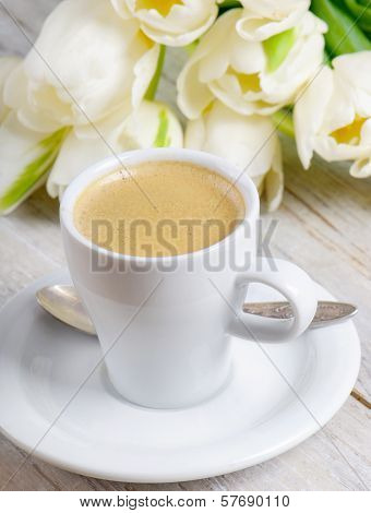 Coffee Cup And White Tulips
