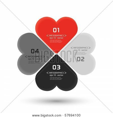 Heart infographic template business concept