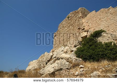 Medieval Castle of Kritinia in Rhodes Greece, Dodecanese: On a hill of 131m above the village of Kri