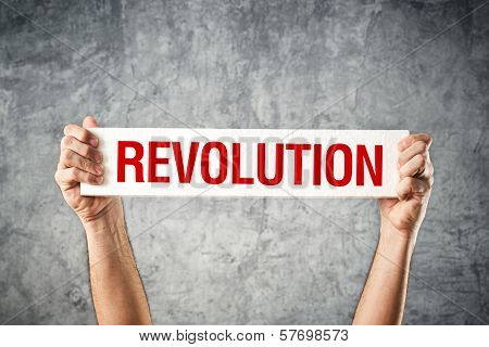 Man Holding White Banner With Revolution Title