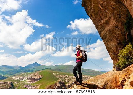Female Hiker With Backpack.