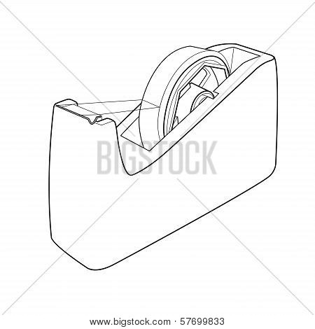Tape Dispenser With Adhesive Tape Out Line Vector.eps