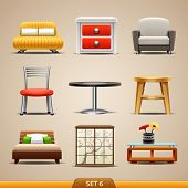 stock photo of settee  - Furniture icons - JPG