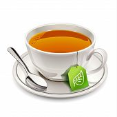 stock photo of boiling water  - Cup of tea with tea bag on white background - JPG