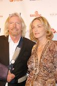 Richard Branson and Sharon Stone at the Rock The Kasbah Gala to benefit Virgin Unite and the Eve Bra