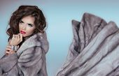 image of mink  - Beauty Fashion Model Girl in Blue Mink Fur Coat - JPG
