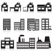 Set Of Buildings: Office, House, Factory