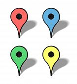 stock photo of poi  - Vector markers map icons with transparency shadows - JPG