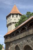stock photo of sibiu  - Old city wall in the ancient town of Sibiu Romania - JPG