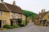 picture of castle  - Quaint town of Castle Combe in the Cotswolds of England - JPG