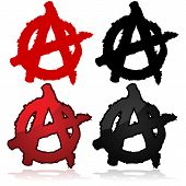 stock photo of anarchists  - Symbol of the anarchist movement a capital A on top of a circle - JPG