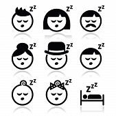 picture of goodnight  - Vector icons set of sleeping people isolated on white - JPG
