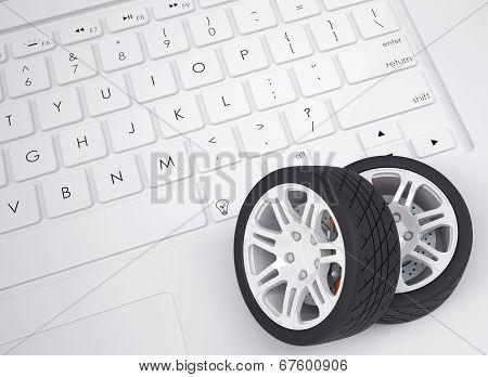 Car wheels on the keyboard