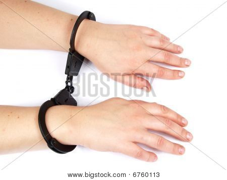 Feminine Hands Shackled In Manacles