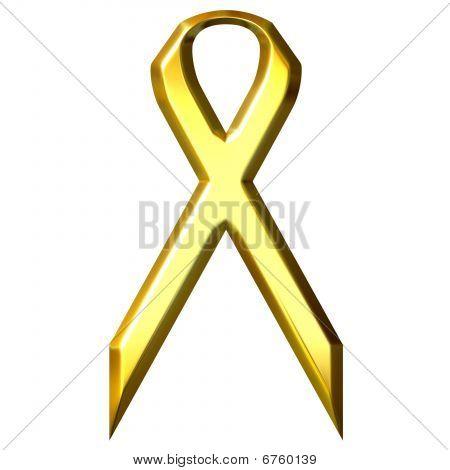 Childhood Cancer Awareness 3D Golden Ribbon