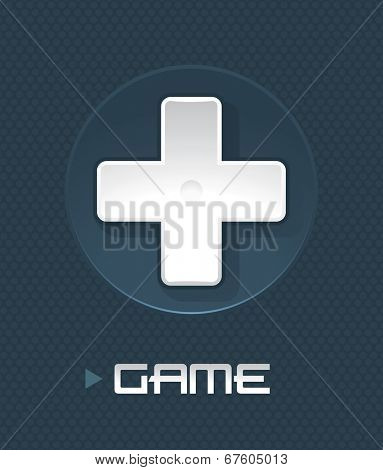 Vector illustration of game controller part on abstract background